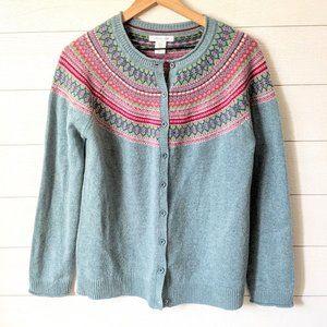 Tabitha Webb Fair Isle Sweater Cardigan L